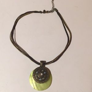 Lia Sophia corded necklace green & stone pendant